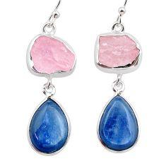 16.90cts natural pink rose quartz raw kyanite silver dangle earrings t38254