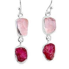 11.59cts natural pink rose quartz raw ruby rough 925 silver earrings r93713
