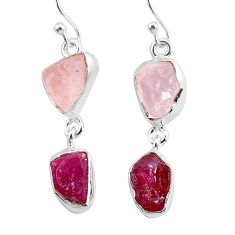 11.55cts natural pink rose quartz raw ruby rough 925 silver earrings r93714