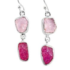 13.09cts natural pink rose quartz raw ruby rough 925 silver earrings r93716