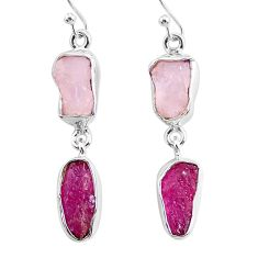 12.99cts natural pink rose quartz raw ruby rough 925 silver earrings r93719