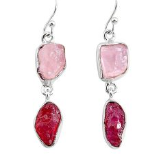 13.55cts natural pink rose quartz raw ruby rough 925 silver earrings r93720