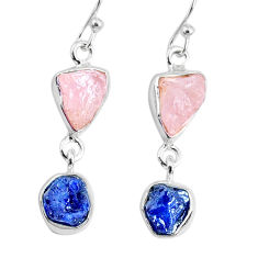 9.37cts natural pink rose quartz raw sapphire rough silver earrings r74270