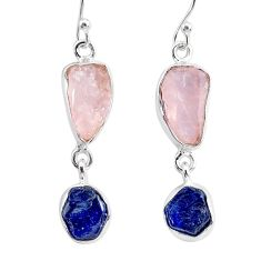12.12cts natural pink rose quartz raw sapphire rough silver earrings r93702