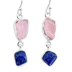 13.04cts natural pink rose quartz raw sapphire rough silver earrings r93705