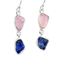 12.10cts natural pink rose quartz raw sapphire rough silver earrings r93707