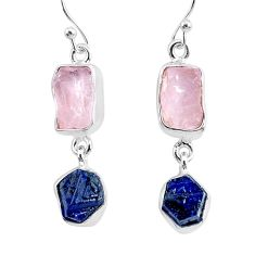 12.12cts natural pink rose quartz raw sapphire rough silver earrings r93710