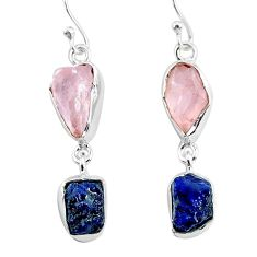 13.09cts natural pink rose quartz raw sapphire rough silver earrings r93711