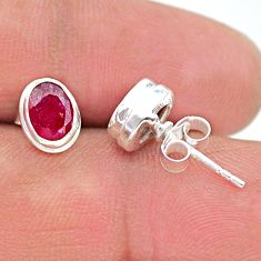 2.59cts natural pink ruby 925 sterling silver stud earrings jewelry t19721