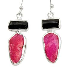 13.55cts natural pink ruby rough 925 silver dangle earrings jewelry d40324