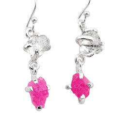 8.15cts natural pink ruby rough 925 silver dangle earrings jewelry t25541