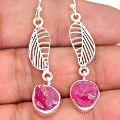 10.83cts natural pink ruby rough 925 silver deltoid leaf earrings r89968