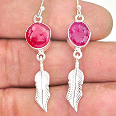 10.38cts natural pink ruby rough 925 silver deltoid leaf earrings r90040