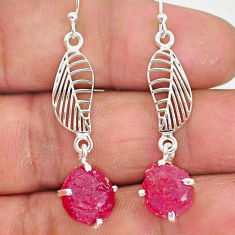10.52cts natural pink ruby raw 925 silver deltoid leaf earrings r90696