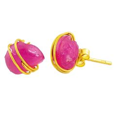 9.45cts natural pink ruby raw fancy 14k gold handmade stud earrings r79772