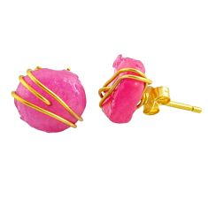 10.50cts natural pink ruby raw fancy 14k gold handmade stud earrings r79778