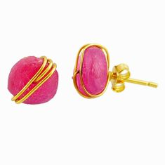 8.24cts natural pink ruby raw fancy 14k gold handmade stud earrings r79779