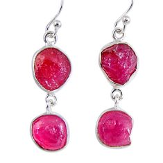 17.18cts natural pink ruby rough 925 sterling silver dangle earrings r55433