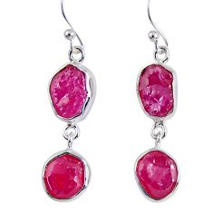 14.40cts natural pink ruby rough 925 sterling silver dangle earrings r55436