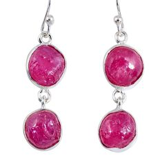 17.69cts natural pink ruby rough 925 sterling silver dangle earrings r55437