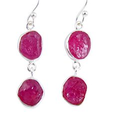 15.39cts natural pink ruby rough 925 sterling silver dangle earrings r55438