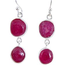 16.70cts natural pink ruby rough 925 sterling silver dangle earrings r55440