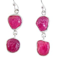 16.65cts natural pink ruby rough 925 sterling silver dangle earrings r55480