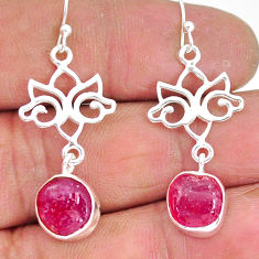 10.69cts natural pink ruby raw 925 sterling silver dangle earrings r89919
