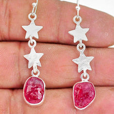 9.94cts natural pink ruby raw 925 sterling silver dangle earrings r89920