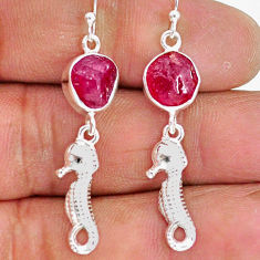 10.79cts natural pink ruby raw 925 sterling silver dangle earrings r89939
