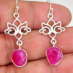 10.07cts natural pink ruby rough 925 sterling silver dangle earrings r89959
