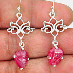 9.50cts natural pink ruby raw 925 sterling silver dangle earrings r90698