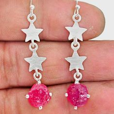 7.67cts natural pink ruby raw 925 sterling silver dangle earrings r90720