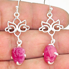 8.84cts natural pink ruby raw 925 sterling silver dangle earrings r90740