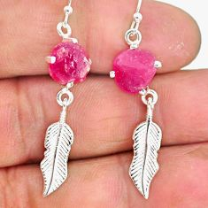 8.67cts natural pink ruby rough 925 sterling silver deltoid leaf earrings r90760