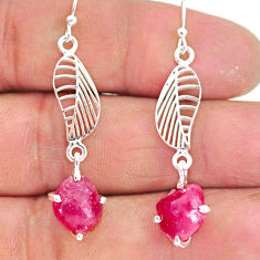 8.23cts natural pink ruby raw 925 sterling silver deltoid leaf earrings r90799