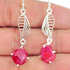 9.27cts natural pink ruby raw 925 sterling silver deltoid leaf earrings r90800
