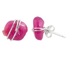 9.13cts natural pink ruby raw 925 sterling silver stud earrings jewelry r79695