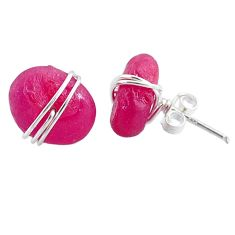 9.13cts natural pink ruby raw 925 sterling silver stud earrings jewelry r79700