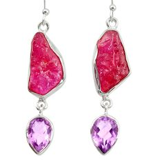 17.69cts natural pink ruby rough amethyst 925 silver dangle earrings d40331