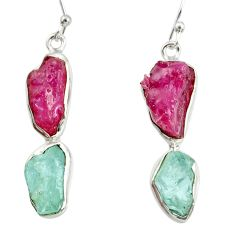 14.90cts natural pink ruby rough aquamarine rough 925 silver earrings d40327