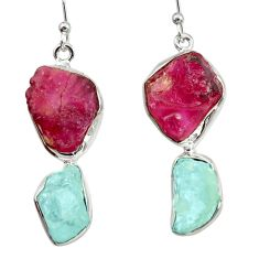 20.86cts natural pink ruby rough aquamarine rough 925 silver earrings d40334