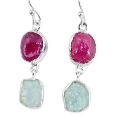 16.70cts natural pink ruby rough aquamarine rough 925 silver earrings r55381