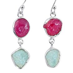 15.39cts natural pink ruby rough aquamarine rough 925 silver earrings r55382