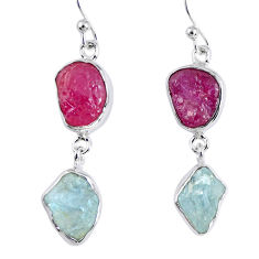 15.80cts natural pink ruby rough aquamarine rough 925 silver earrings r55383