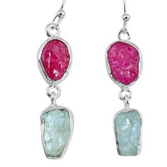15.85cts natural pink ruby rough aquamarine rough 925 silver earrings r55412