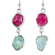 14.40cts natural pink ruby rough aquamarine rough 925 silver earrings r55414