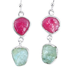 16.17cts natural pink ruby rough aquamarine rough 925 silver earrings r55419