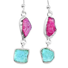 10.79cts natural pink ruby raw aquamarine rough 925 silver earrings r74301