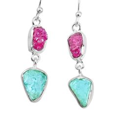 10.28cts natural pink ruby raw aquamarine rough 925 silver earrings r74305